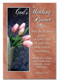May the healing power of God's Love be with you, while you're recovering. God bless you.