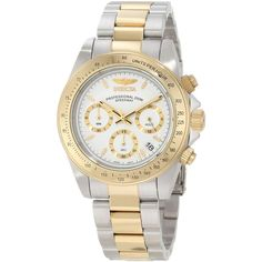 Invicta Watch: Invicta 9212 Men's Speedway watch features polished finish two tone gold plated stainless steel case with screw down case back. This great watch also comes with high quality Japanese quartz movement, scratch resistant mineral crystal, water resistant up to 200 Meters, polished finish two tone gold plated stainless steel bracelet with fold over safety clasp and white dial with gold outline Chronograph sub dials, date display and gold tone hands and hour markers.   eBay!