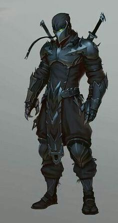 ninja warrior with knight mix point of view Fantasy Character Design, Character Concept, Character Inspiration, Character Art, Warrior Concept Art, Armor Concept, Fantasy Armor, Dark Fantasy Art, Black Armor