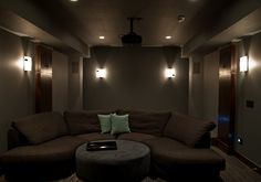 Home theater lighting can be adjusted to your desired level of brightness.