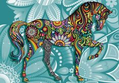 Horse Flowers Abstract Colours Fototapet | Europosters.ro