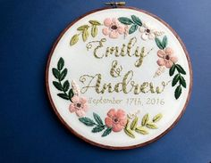 Embroidery Hoop Art Custom Embroidery Wedding Embroidery Wedding Anniversary Engagement Gift Name Sign Wedding Decor Hoffelt and Hooper - Embroidery - Baby Wedding Embroidery, Learn Embroidery, Hand Embroidery Stitches, Silk Ribbon Embroidery, Embroidery Hoop Art, Hand Embroidery Designs, Vintage Embroidery, Custom Embroidery, Embroidery Patterns Free