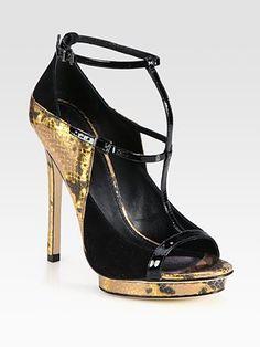 B Brian Atwood - Snake-Print Metallic Leather Mixed Media Sandals - Saks.com
