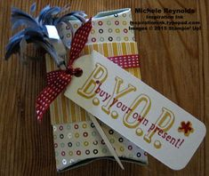 """Handmade gift card holder using Stampin' Up! products - B.Y.O.P. Photopolymer Stamp Set, A Little Sumthin' Sumthin' Simply Created Gift Box, Note Tag Punch, Project Life Corner Punch, and 1/4"""" Circle Handheld Punch.  By Michele Reynolds, Inspiration Ink, http://inspirationink.typepad.com/inspiration-ink/2015/04/walk-in-wednesday-balloon-bash-and-byop.html.  #stampinup #inspirationink #giftcardholder #giftbox #byop #alittlesumthinsumthin"""