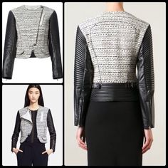 NINA RICCI ♠️ Leather & Tweed Moto NWT Bad a$$ with class!! This stunner is absolutely everything.  Black and white cotton blend, virgin wool, silk, leather and tweed biker jacket from Nina Ricci.  NWT ♠️ LINING Silk 100% Outer Composition: Leather 100% Outer Composition: Polyamide 24% Outer Composition: Cotton 72% Outer Composition: Acrylic 4% Composition: Virgin Wool 100% WASHING INSTRUCTIONS SPECIALIST CLEANING Nina Ricci Jackets & Coats