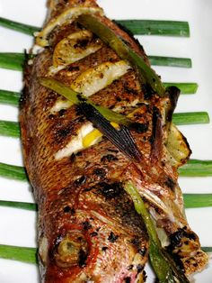 Bahamian Style Whole Broiled Red Snapper Find Bahamian groceries and ingredients at the All about Cuisine shopping guide at www. Whole Red Snapper Recipes, Whole Fish Recipes, Seafood Dishes, Seafood Recipes, Cooking Recipes, Tilapia Recipes, Salmon Recipes, Cooking Tips, Fish And Chips