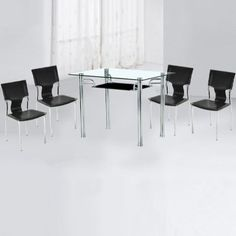 Sarah Glass Table With Black Undershelf And 4 Chairs