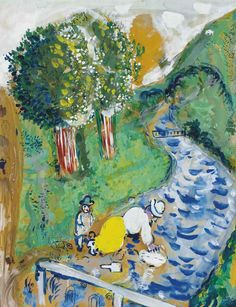 Marc Chagall - Between Surrealism & NeoPrimitivism - Le Ruisseau, 1926 Marc Chagall, Pablo Picasso, Chagall Paintings, Atelier D Art, Jewish Art, French Artists, Kandinsky, Art And Architecture, Lovers Art