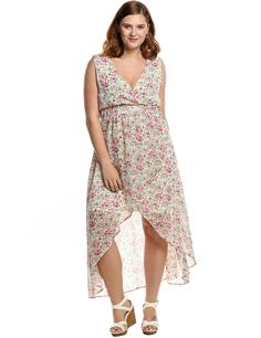 ba5947206a67c Meaneor Women s Plus Size V-neck Irregular Hem Floral Printed Chiffon Maxi  Dress   Insider s