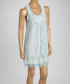 Light Blue Floral Linen-Blend Sleeveless Dress by Pretty Angel #zulily #zulilyfinds