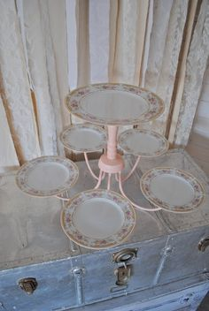 Chandelier Repurposed I would paint it all (chandelier one color & plates another or each plate an individual color