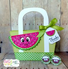 The Cricut Bug: Jaded Blossom Die Release Day Thanks A Melon! Diy Tote Bag, Beach Tote Bags, Mambi Stickers, Peachy Keen Stamps, Paper Crafts, Diy Crafts, Treat Bags, Cardmaking, 3 D