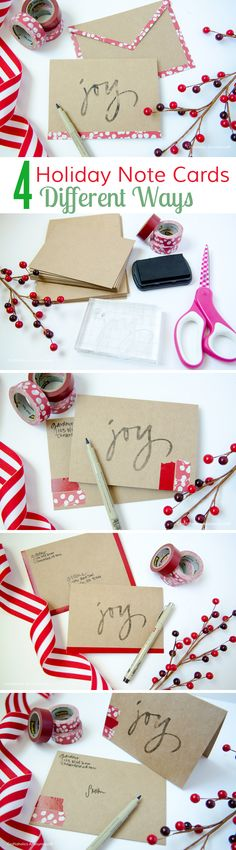 Add some pizazz with these touches. Easy Washi Tape Holiday Notecards.