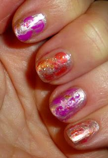 Bright nails and glitter, I just love this combination. What do I do when I can't decide between 2 shades I want to use, well use them both,. Bright Nails, Just Love, Nail Polish, Glitter, Beauty, Bright Toe Nails, Bling Nails, Light Nails, Nail Polishes