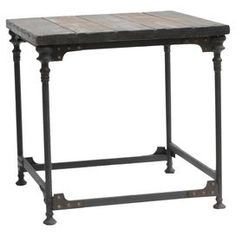 "Industrial-style reclaimed wood and metal end table with a planked top and rivet detail.  Product: End tableConstruction Material: Wood and metalColor: Distressed brownDimensions: 24"" H x 24"" W x 23"" D"