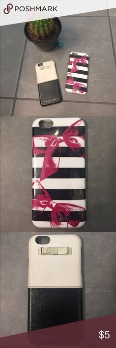 Victoria Secret iPhone 6 cases! 2 Victoria Secret iPhone 6 cases! Ribbon patten has a few scratches (see pic) and black and white has some fading on white and minor scuff on corner. These are both super cute cases but not needed, getting a new phone! Victoria's Secret Accessories Phone Cases