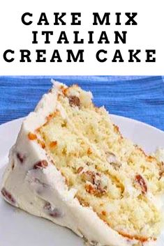 This Italian Cream Cake with pecans and cream cheese frosting is not to be missed, especially for those southerners out there! This Italian Cream Cake with pecans and cream cheese frosting is not to be missed, especially for those southerners out there! Cake Mix Desserts, Easy Desserts, Baking Recipes, Delicious Desserts, Dessert Recipes, Italian Cream Cake Recipe Easy, Italian Cream Cheese Cake, Cake With Cream Cheese, Cake