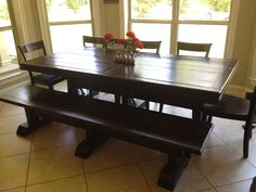 Pine Farmhouse Dining Table Bench Combo 2 Benches Made To Order On Etsy