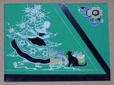 Vintage Christmas card, 1932.  The color, the deco lines, the cat.  Excellent!