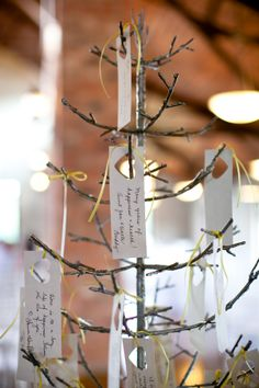Yellow & Grey Wedding  |  kimberly chau photography-I have branches  in dining room and want to leave paper so the whole family can add little notes of love.