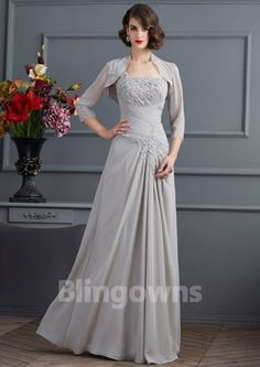 Chiffon A-line Sleeveless Zipper Floor Length One Shoulder Appliques Jacket Gray Mother Of The Bride Dresses