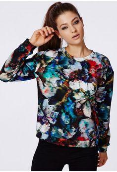 LOVE! Thallassa Brush Stroke Print Sweater - Tops - Missguided