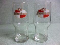"""2 verres à biere  """" KRONENBOURG """"  ...  25 cl...."""