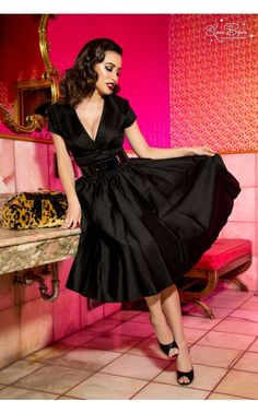 Vintage Style Party Dress with Full Skirt and Wide Collar in Black | Pinup Girl Clothing