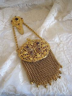 Rare Jeweled Butterfly Chatelaine Gilt Mesh Purse Ca 1880