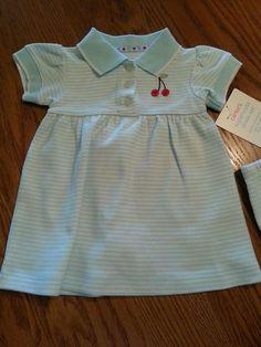 New CARTERS GIRLS Blue & White Cherry POLO DRESS SET 2 Piece SZ 6M NWT Cotton #Carters #Everyday