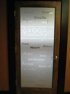 Vinyl window graphics: ideas using frosted or etched glass vinyl Etched Glass Vinyl, Frosted Glass Door, Glass Doors, Internal Double Doors, Yoga Studio Design, Bathroom Doors, Bathroom Plumbing, Shower Bathroom, Bathroom Plants
