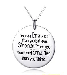 """YFN Sterling Silver """"You are Braver than you believe Strong that you seem and Smarter than you think"""" Message Inspirational Letters Engraved Pendant Necklace, Engraved Jewelry, Engraved Necklace, Letter Pendant Necklace, Heart Jewelry, Fine Jewelry, Jewellery, Sister Jewelry, Daughter Necklace, Gemstone Jewelry"""