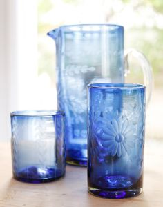 french blue tall flower glass
