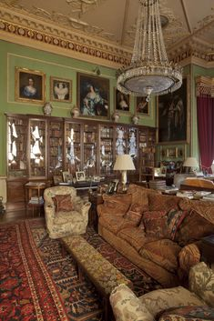 Library at Hatchlands, East Clandon, Guildford, Surrey. Robert Adam, National Trust Images/Chris Lacey -- layered oriental rugs and glass-fronted bookcases