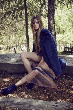 For Love and Lemons Antigua Maxi Dress / Sapphire & Wanderlust Faux Fur / Blue Ashes