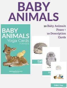 5 Baby animals yoga poses for kids | Kids Yoga Stories Baby Poses, Kid Poses, Animal Yoga, Childrens Yoga, 5 Babies, Cool Yoga Poses, Yoga For Kids, Animal Cards, Color Card