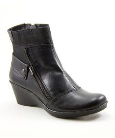 Love this Black Happening Leather Wedge Boot by Taos Footwear on #zulily! #zulilyfinds