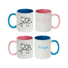 Personalized Bride & Groom Cartoon Mr. Right and Mrs. Always Right Mugs (Set of 2pcs)