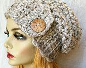VENTA Crochet mármol gris Slouchy Beret, sombrero de mujer, botón de coco, lana otoño invierno sombrero, regalos de cumpleaños para su JE808SBTB1 de chicas adolescentes