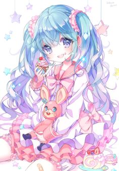 Browse VOCALOID Miku collected by MikuHatsuGamiowo and make your own Anime album. Anime Chibi, Miku Chibi, Lolis Anime, Anime Art, Kawaii Anime Girl, Loli Kawaii, Anime Girl Cute, I Love Anime, Anime Girls