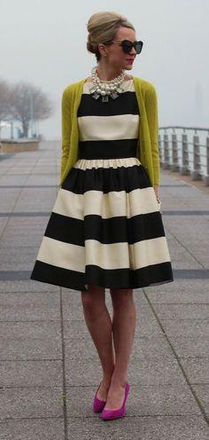 "Kate Spade New York ""Carolyn"" Stripe Fit & Flare Dress"