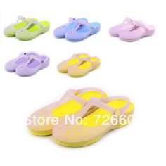 Hole shoes female sandals 2014 heterochrosis flat heel slippers jelly shoes flat sandals $25.00