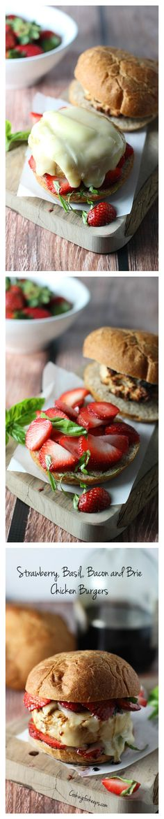 Strawberry, Basil, Bacon and Brie Chicken Burgers via cookingforkeeps.com