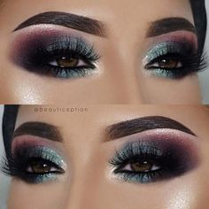 Bold Fall and Winter Makeup Earlier in the post we featured a makeup idea with a classic eyeliner flick and purple lips. Makeup Guide, Eye Makeup Tips, Smokey Eye Makeup, Eyeshadow Makeup, Beauty Makeup, Makeup Ideas, Beauty Tips, Green Smokey Eye, Makeup Brushes