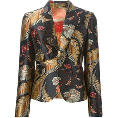 Dsquared2 'Lisa' floral blazer ($1,420) ❤ liked on Polyvore featuring outerwear, jackets, blazers, blazer, black, black long sleeve jacket, floral print jacket, floral print blazer, dsquared2 jacket and flower print jacket