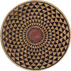 Round Stone Mosaic – Dunya - Dunya Gold and Black Round Stone Mosaic - Arabesque Mosaic Art - Mosaic Patterns - Mosaic Medallions - Mosaic Designs Mosaic Tile Table, Wood Mosaic, Marble Mosaic, Stone Mosaic, Mosaic Wall, Mosaic Glass, Mosaic Floors, Stained Glass, Mosaic Designs