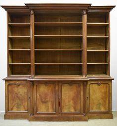 Victorian Walnut Breakfront Bookcase