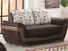 Empire Furniture Belmont Loveseat - Brown fabric sleeper loveseat.