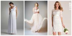 Si tu boda será justo cuando tu bebé está dentro de ti te dejamos algunas ideas de vestidos de novia según el tamaño de tu pancita: