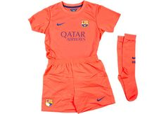 Nike Barcelona Lil Boys Away Kit 2014-2015...get your kid one at SoccerPro today!